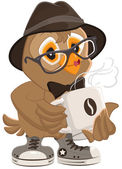 Hipster owl hat and sunglasses drinking hot coffee — Stock Vector