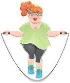 Fat woman skipping rope — Stock Vector
