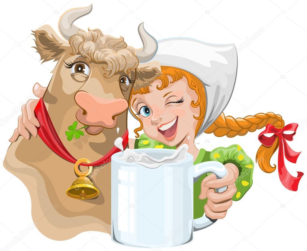 Рисунок женщина с молоком