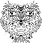 Monochrome abstract owl — Stock Vector