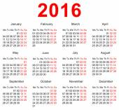 2016 Calendar template. Horizontal weeks. First day Monday — 图库矢量图片