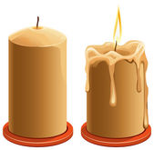 New and burning wax candle — Stock Vector