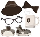 Set hipster accessories - hat, glasses, tie, mug of coffee, shoes — Stock Vector