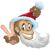 Monkey in Santa hat showing two fingers - gesture victory. Symbol 2016. — Stock Vector