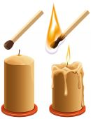 Set match and candle. New and burns — Stock Vector