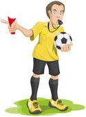 Soccer referee whistles and shows red card. — Stock Vector