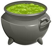 Pot with green magic potion — Stock Vector