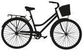 Black vector silhouette of a bicycle with a basket — Stock Vector