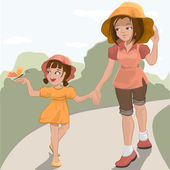 Mother walks with her daughter in the park — Stock Vector