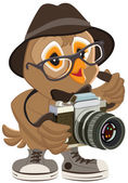 Owl hipster in hat and sunglasses holding retro camera. Bird photographer — Stock Vector