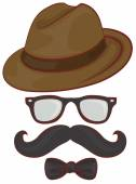 Set hipster accessories - hat, glasses, mustache, bow tie — Stock Vector