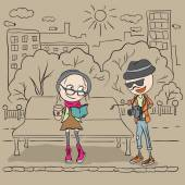 Hipster girl sitting on a bench and drink coffee. The guy hipster photographs. — Stock Vector
