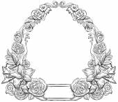 Monochrome floral frame — Stock Vector