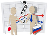 Japan sanctions against Russia negative impact on business — Stock Vector