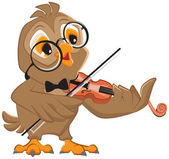 Owl plays the violin — Stock Vector