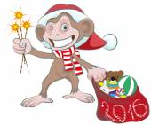 Monkey in Santa hats holding sparkler and bag of gifts — Stock Vector