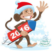Christmas monkey wearing a Santa Claus brings fireworks 2016 — Stock Vector