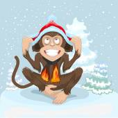 Monkey is sitting on snow and puts cap of Santa Claus — Stock Vector