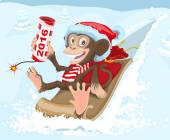 Christmas monkey riding on a sled and keeps petard 2016 — Stock Vector