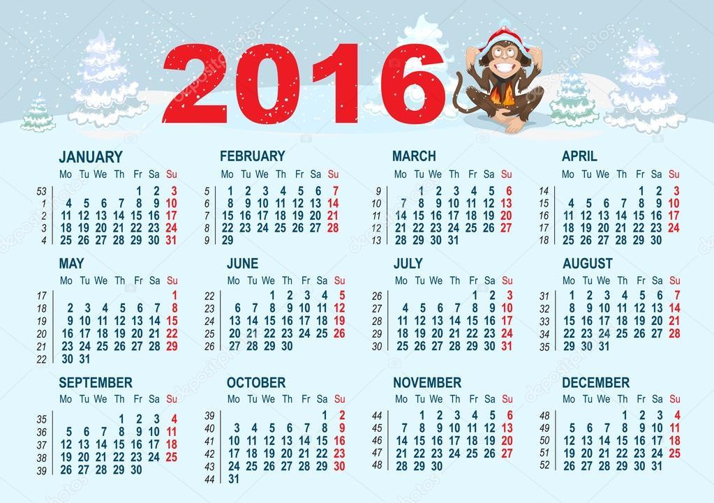 depositphotos_74606879-2016-Calendar-template.-Monkey-is-sitting-on ...