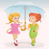 Two friends holding umbrella. Template greeting card Friendship Day — Stock Vector
