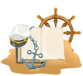 Sea Adventure. Open book, anchor, captain cap and wheel lying on sand — Stock Vector