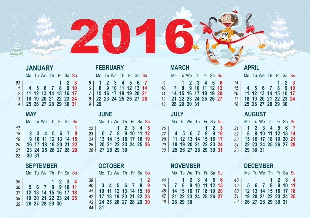 2016 NaptáR 2016 | Free Calendars 2016 Images Printable Editable PDF