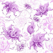 Purple flowers. Seamless — Stock Vector