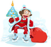 Monkey dressed as Santa is holding Christmas tree and bag gift — Stock Vector