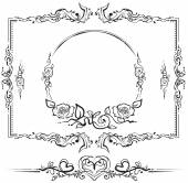 Black and white floral pattern. Cartouche for titles — Stock Vector