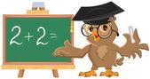 Owl teacher leads math lesson — Stock Vector