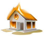 White brick house on fire. Country cottage in danger — Stock Vector