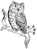 Owl sits on tree branch. Graphic design — Stock Vector