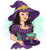 Beautiful girl witch holds potion cup on a tray — Stock Vector
