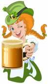 Red haired girl leprechaun holding a glass beer mug — Stock Vector