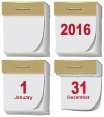 Set of tear-off calendar 2016 — Stock Vector
