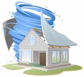 Hurricane destroyed roof of house — Stock Vector