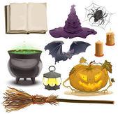 Set Halloween objects accessories. Pumpkin ,lantern, hat, broom, cauldron, spider, bat and old book — Stock Vector