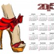 Calendar 2015 with beautiful female leg in high heels — Stock Vector #58942153