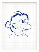 Funny crow with big beak. Bird cartoon character. Vector illustr — Stock Vector
