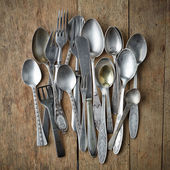 Old silver tableware — Stock Photo