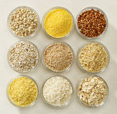Various kinds of cereal grains — Stock Photo