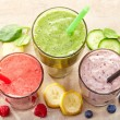 Glasses of various smoothies — Stock Photo #66059423