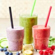 Glasses of various smoothies — Stock Photo #66083823