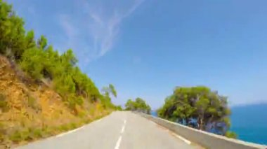 Road along the coast of France, time-lapse — Stock Video