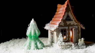 Toy house and fir-tree in snow — Stock Video