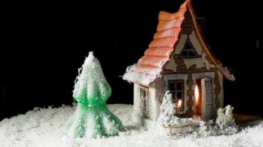 Maison de jouet et de sapin dans la neige — Vidéo