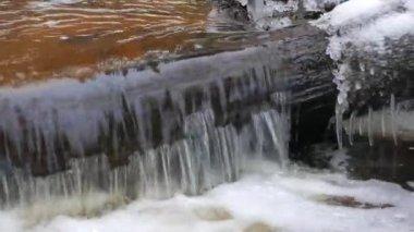 Winter river panorama — Stock Video
