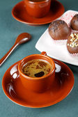 Still-life with a cup of coffee and cakes — Foto de Stock