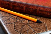 Pile of notebooks in leather covers and a pencil close up — Stok fotoğraf